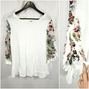 Umgee White Boho Floral Embroidered Boho Top